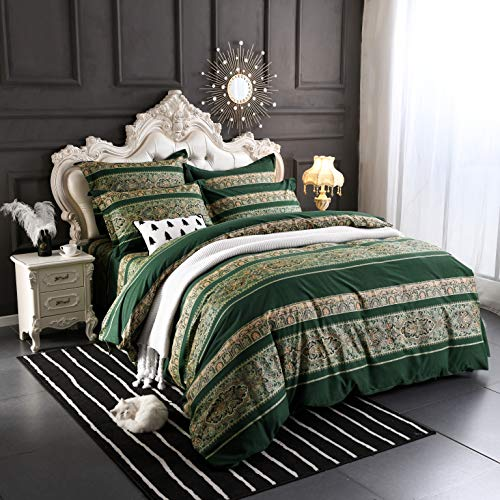 Softta Boho beddding Set Queen Size 3Pcs Bohemian Vintage Floral Duvet Cover Sets Colorful Stripe Damask Paisley Pattern 100% Brushed Cotton 1 Duvet Cover +2 Pillow Shams Green