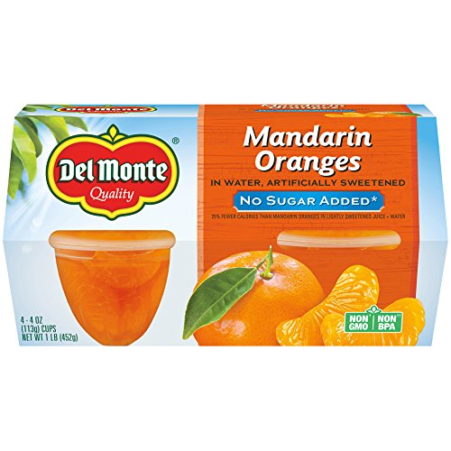 Del Monte No Sugar Added Mandarin Oranges in Water Fruit Cup, 4-Ounce, 4-Pack