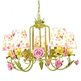 Wrought Iron Chandeliers Lighting Ceramic Pendant Lamp Fashion Ceiling Lights Led Light Source Flower Rose Contemporary Garden Lamps