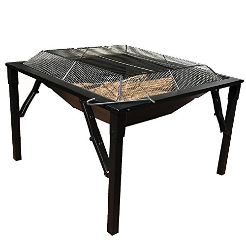 Ollypulse 27 Inch Big Black Metal Square Design Charcoal and Wood Log Burning BBQ Grill Outdoor Foldable Portable Patio Fire Pit with Stainless Steel Spark Screen Cover and Hook (Fire Diy Patio Ideas Pit)
