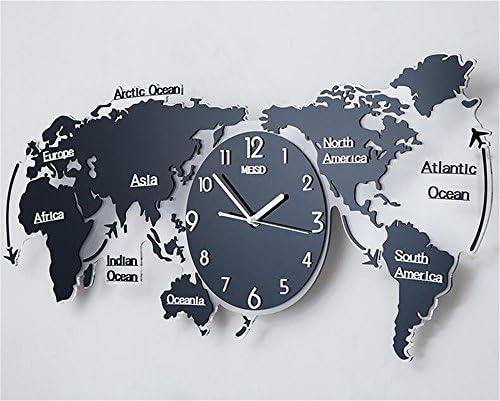 FUXINGXING Moderno Y Minimalista Mapa del Mundo Creativo, Reloj De Pared Personalizado Continental Salón Gráfico De Pared Reloj Mute,74 * 34Cm,Un: Amazon.es: Hogar