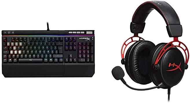 HyperX HX KB2RD2 FR Alloy Elite RGB Clavier Gaming mécanique, Cherry MX Red (AZERTY) & HX HSCA RD Cloud Alpha Casque Gaming avec Control Audio