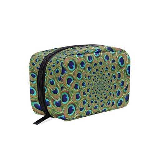 Scouts Swirl Green Girl - Cosmetic Makeup Bag Pouch Green Swirl Feather Peacock Clutch
