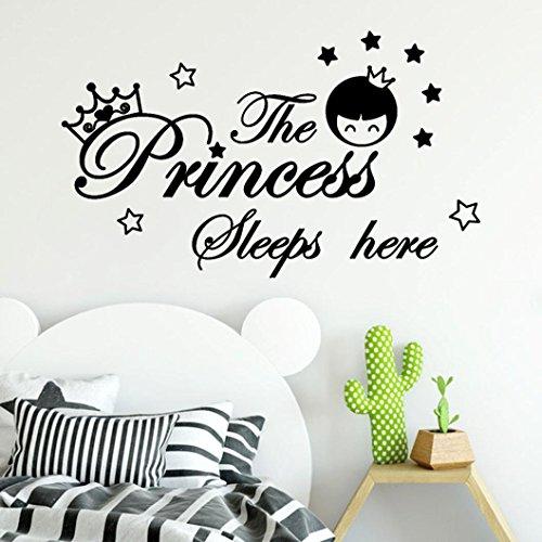 Wall Stickers,Yezijin Princess Sleeps Here Wall Decal - Crown Wall Decal - Girls Name Princess Nursery Decor Personalized Wall Decal (Black)