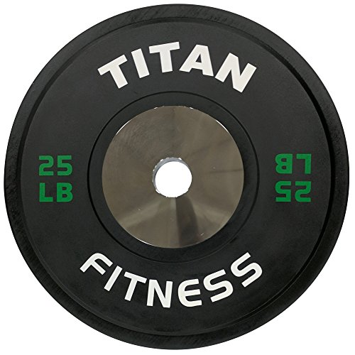 Pair of Titan Elite Olympic Bumper Plates - 25 LB (Black/Green) by Titan Fitness (Image #1)