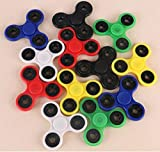 Fidget Hand Spinners 50 PC Color Bundle Bulk EDC Tri-Spinner Desk Toy Stress Anxiety Relief ADHD Student Relax Therapy Pack Combo Wholesale Green Red Black White Blue Yellow Glow Pink Glow Sky Blue