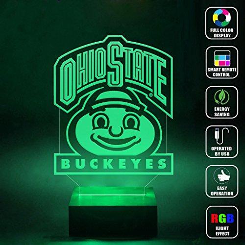 CMLART Handmade Ohio State Logo Buckeys 3d Lamp RGB Full Color 44 Key Remote control LED Night Light Best Gift Desk Table Lighting Home Decoration - State Lamp Desk Ohio