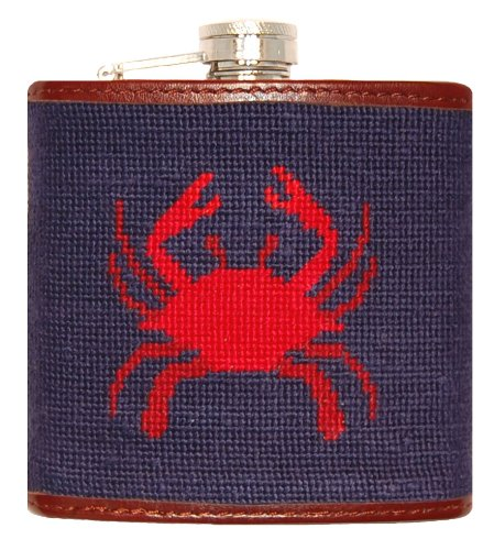 Smathers & Branson Crab Needlepoint Flask - Dark Navy - Needlepoint Crab