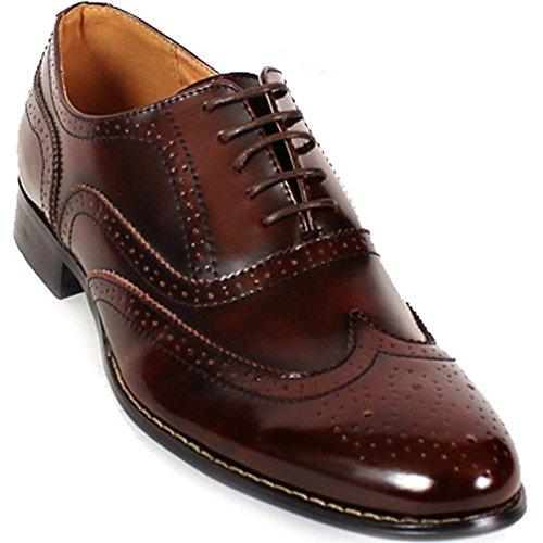 Nouvelle Robe De Mens En Cuir Chaussures Formelle Lacets Oxford Occasionnels Marron Deluxe