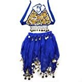 TopTie Kid's Tribal Belly Dance Girl Skirt & Halter Top Set, Halloween Costumes BLUE-M offers