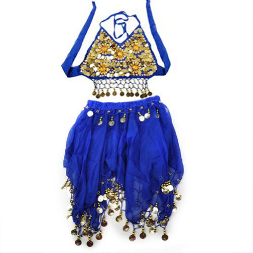[TopTie Kid's Tribal Belly Dance Girl Skirt & Halter Top Set, Halloween Costumes BLUE-M] (Genie Outfit)