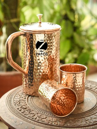 Zafos Pure Copper Hammered Water Jug with 2 Glasses| Copper Pitcher for Ayurveda Health Benefits, Sports,Gym,Yoga & Travel,50oz (Water Pitcher Copper)