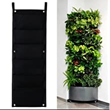 2 Pack Vertical Outdoor Indoor Wall Planters Pockets Garden Hanging Planters Grow Bag for Herbs/Vegetables/Flowers (Black, 2 PCS 7 Pocket (7x1))