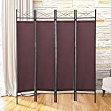 Alitop Brown 4 Panel Screen Room Divider Fabric Metal Frame Folding Partition Privacy