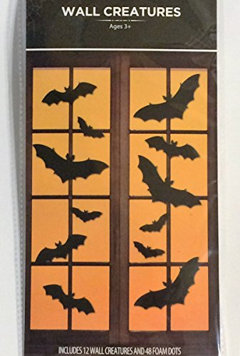 Wall Creatures Halloween Door Decoration, BAT [12 units] Silhouette/Cutout 3D Effects.