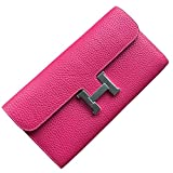 FBLUE New High -Capacity Women 's Long Wallet Litchi Grain Leather Handbags FB022 (Rose red)