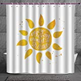 Coca Cola Shower Curtain SCOCICI Fun Shower Curtain 2.0 [ Sun,Watercolor Summer Inspired Dotted Background Holiday Themed Vintage Illustration Decorative,Marigold White ] Polyester Fabric Bathroom Shower Curtain