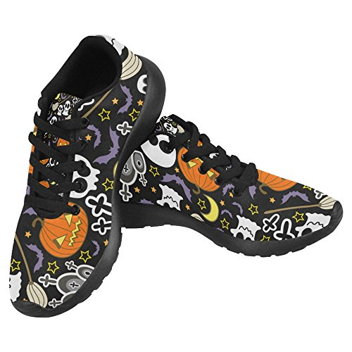InterestPrint Women's Jogging Work Shoes Lightweight Sport Running Sneaker Flats - Halloween Skull Pumpkin ()