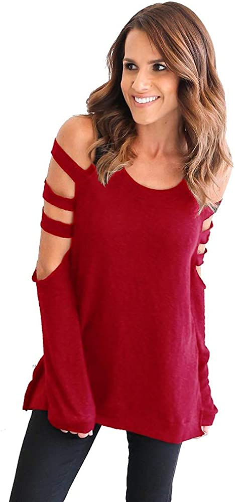 iMixCity Mujer Camiseta Elegante Casual Hombros Descubiertos Blusa Mangas Largas Cuello Redondo Top (Rojo, M :34/36): Amazon.es: Ropa y accesorios