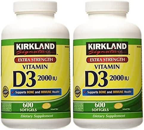 2 Pack of Kirkland Maximum Strength Vitamin D3 600 Softgels - 1200 Total Softgels 2000 I.U.