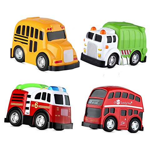 Mallya Pull Back Car Toy, School Bus Double Decker London Die cast Vehicles for Kids Toddlers Boys Play Set(4 Pack) ()
