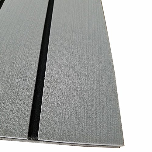 SOOMJ Eva Synthetic Teak Deck Mat, EVA Foam Faux Teak Non-Slip Marine Flooring Mat, Boat Yacht Flooring Synthetic Teak Decking Pad(Light Grey with Black Lines)