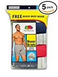 Fruit of the Loom Men's 5Pack Assorted Boxer Briefs 100% Cotton Underwear 2XL