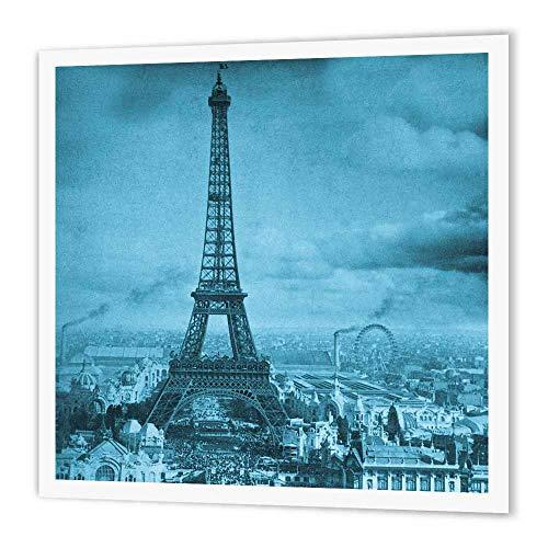 3dRose ht_6794_2 Eiffel Tower Paris France, 1889 Cyan Iron on Heat Transfer, 6 by 6