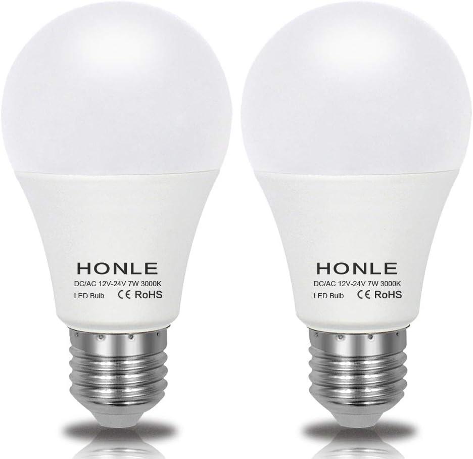 E26 E27 LED Light Bulbs 12V 24V Low Voltage 7W Warm White 3000k Standard Edison Base 60w Halogen Bulb Equivalent DC/AC for Rv, Off Grid Solar Panel Project Lighting, Boat, Garden Landscape Pack of 2