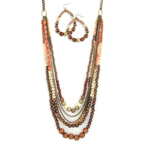 Wood Bead Necklace Earrings - 4