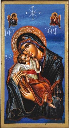 Wooden Greek Christian Orthodox Wood Icon of Mother of Jesus & Jesus Christ / Og