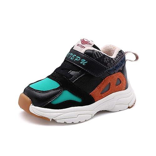60707487ed5 Zapatillas de Deporte de Invierno de Felpa cálidas para niños con Velcro  Niños Chicas Rosa Negro Suela Gruesa Zapatillas de Deporte Zapatillas de  Deporte ...