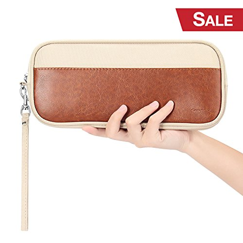 Beige Carrying Case (Carrying Case for Nintendo Switch, iVAPO PU Leather Bag Waterproof Nylon Soft Inner Velvet Clutch Bag for Nintendo Switch - Beige)