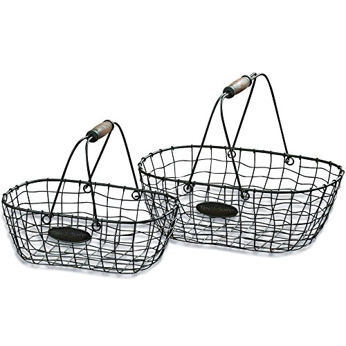 The Farmer's Market Chicken Wire Baskets, Set of 2, Iron with Rustic Turned Wooden Handle, 6 and 5 1/2 Inches, Oval Shape, Home and Garden, By Whole House Worlds