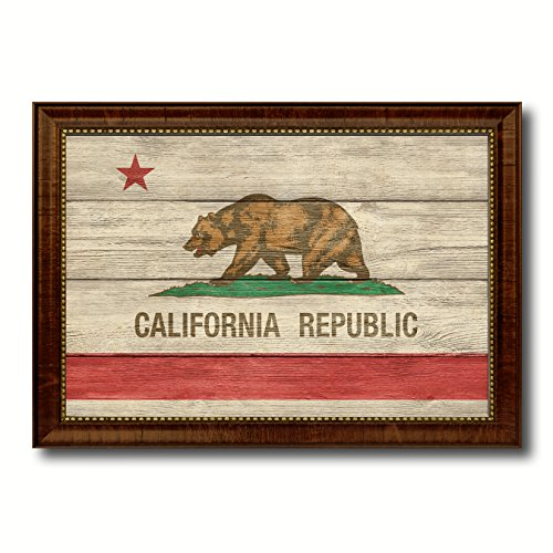 (California State Flag Textured Canvas Print with Brown Picture Frame Gifts Home Decor Wall Art Decoration, 27