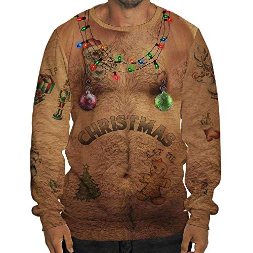 Price comparison product image Ruhiku GW Men's Ugly Christmas 3D Funny Printed Xmas Sweatshirts Pullover Long Sleeve Jumper (XL,  Multicolor)