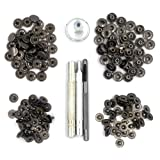 CrazyEve Leathercraft Gunmetal Copper Press Studs Snap Fasteners Poppers Sewing Clothing Snaps Button 40 pcs With Fixing Tool (655(10mm))