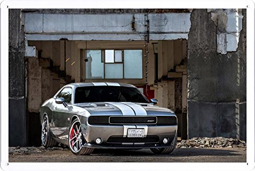 Vehicle Automobile Motor Car 16895 Adv 1 Wheels Dodge Challenger Tin Sign Metal Poster Plate (20x30cm) By Auto TinSign
