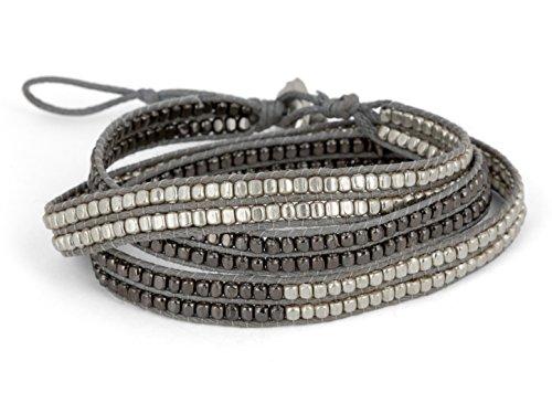 New! Handmade Boho 3 Wrap Bracelet Silver and Gun Metal Silver for Women | SPUNKYsoul Collection