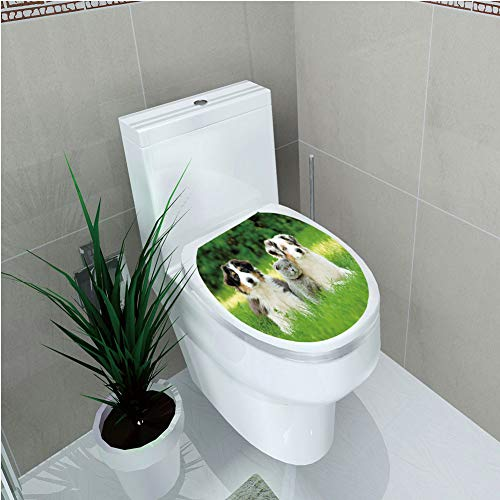 Toilet Cover Sticker 3D Printing,Dog,Cute Pets Puppy Family in The Garden Australian Shepherds and A Cat Scenery Decorative,Cream Grey Fern Green,for You Design,W12.6