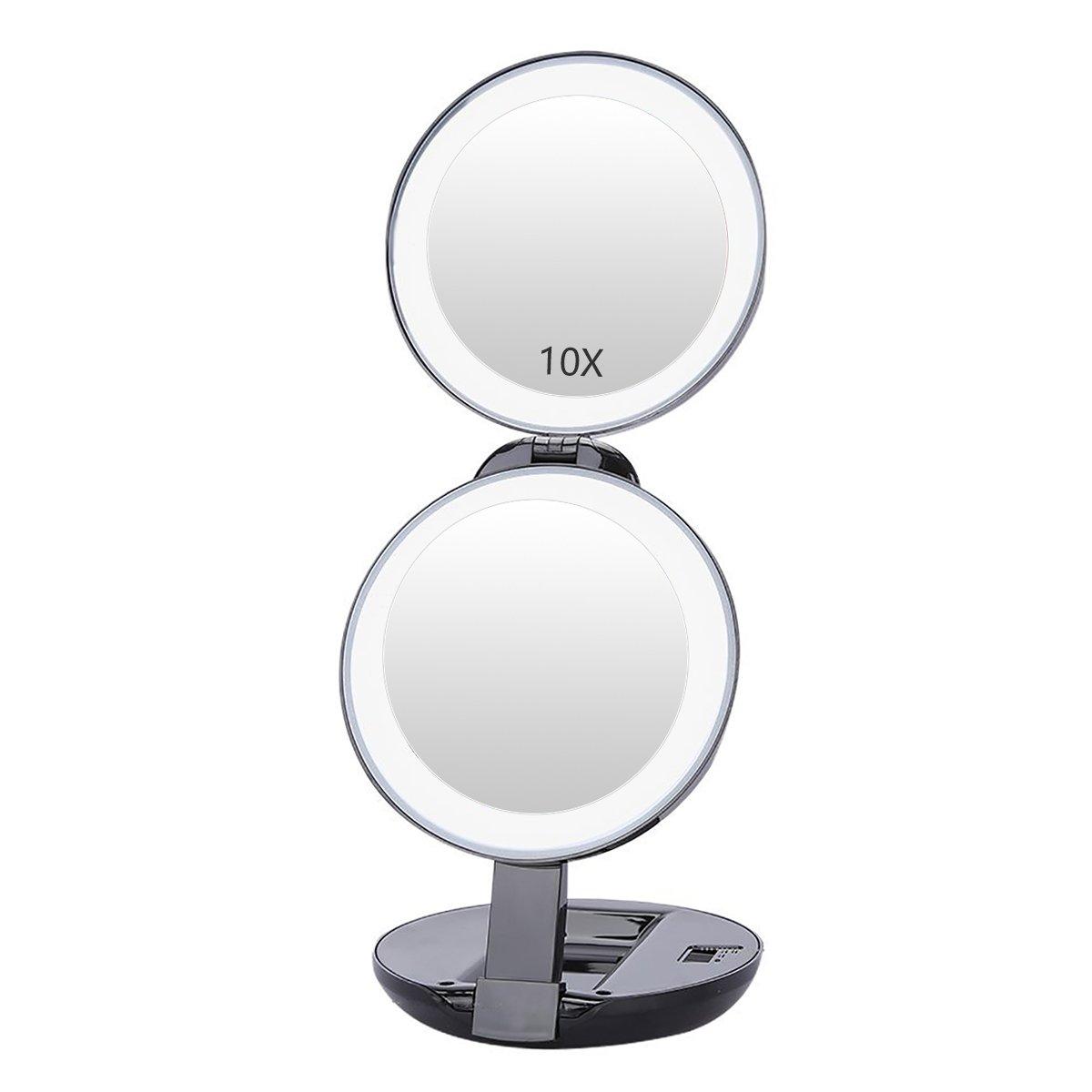 1X/10X Espejo de Maquillaje con Luz LED, Silky Select Espejo Profesional para Mujeres con 10X Aumento y 16LED Portátil Plegable Cosmético Magnificado para Viaje-Negro
