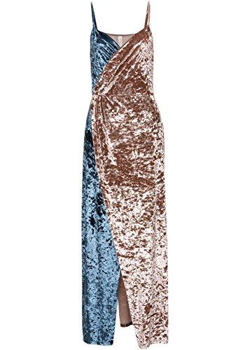 Confortables Femmes Backless Velour A Frappé La Couleur Divisée Robe Maxi V-cou Comme Image
