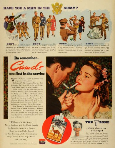 1943 Camel Cigarettes WWII Army Salute Print Advertisement