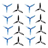 DALPROP Cyclone T6040C 6Inch 3-Blades Propeller Triblade Props CW CCW for FPV Freestyle Drone Quadcopters (8PCS Black+8PCS Crystal Blue)