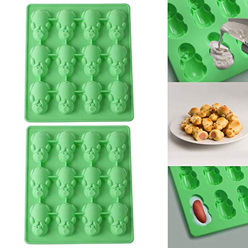 (Aobiny New 1/2PC Multifunction 12 Little Pig Silicone Cake Baking Green Mould - Christmas Cookie Cake Mold Decoration for Home Party ,for Kids Adults (2PC))