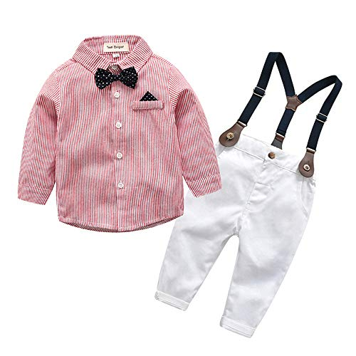 Tem Doger Baby Boys Casual Suit Cotton Long Sleeve Striped Button Down Bowtie Shirt+Long Pants Clothes Set Outfit (Pink, 70(4-12M)) -