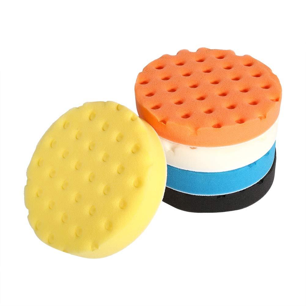 7 Inch Cuque 5 Pieces Smart Cleaning Polishing Sponge Cushion Set Car Polishing Machine Waxing Artifact Cotton Car Waxing Manual Polishing Tool Professional Orange Blue Black White Yellow Sponge
