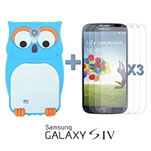 LJF phone case OnlineBestDigital - Owl Style 3D Silicone Case for Samsung Galaxy S4 IV I9500 / I9505 - Blue with 3 Screen Protectors