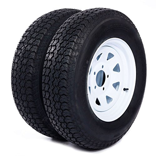 Painted Trailer Rim - Motorhot 2X 14'' White Spoke Trailer Wheel Bias ST205/75D14 Tire and Rim 5 Lugs on 4.5