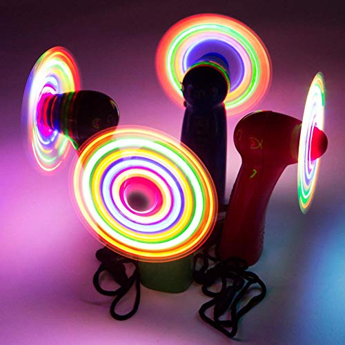 Flashing Panda LED Mini Light-Up Handheld Personal Fan w/ Changing Patterns, Assorted Colors
